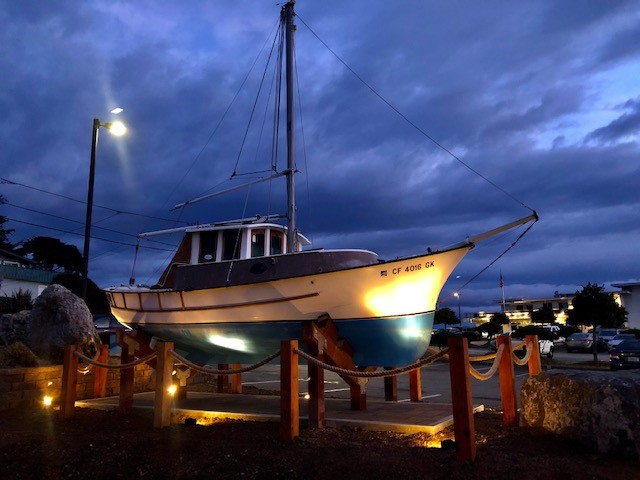 Ed Larson's boat Pappy pictured at dawn in front of the harbor office