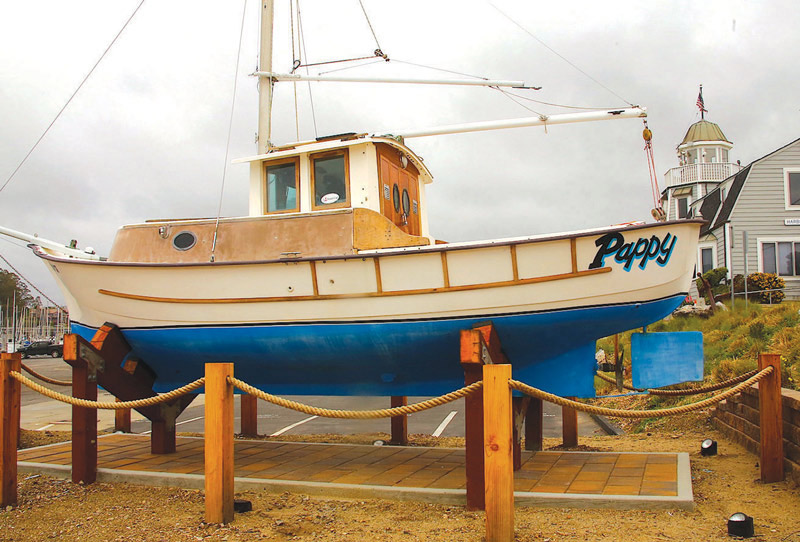 Ed Larson's fishing vessel Pappy displayed at the harbor office_photo by The Pajaronian Tarmo Hannula